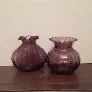 💐set of 2 mauve/eggplant colored vases💐